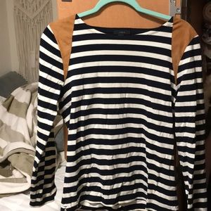 J. Crew long sleeve with suede patches on shoulder